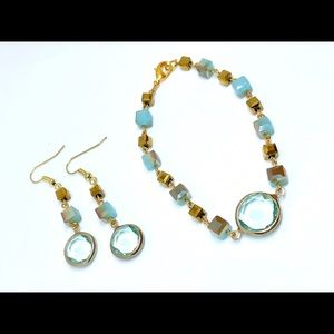 Aqua Blue Gold Glass Cube Disk Bracelet Earrings